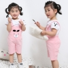ชุดเซตเสื้อสีขาว+เอี๊ยมหมีสีชมพู [size 6m-1y-2y]