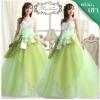 พร้อมเช่า ชุดแฟนซี ชุดราตรียาว สีเขียว ขาว Pastel แต่งผ้าแก้ว ช่อดอกไม้