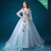 พร้อมเช่า ชุดแฟนซี ชุดราตรียาว สีฟ้า แขนยาว แต่งดอก Fairy สไตล์เจ้าหญิง กระโปรงพองสวย เชือกผูกหลัง