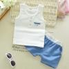 ชุดเซตเสื้อกล้ามสีขาว+กางเกงสีฟ้า [size 6m-1y-2y-3y]