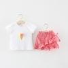 ชุดเซตเสื้อสีขาวลายไอศกรีม+กระโปรงลายสก็อตสีแดง [size 6m-1y-18m-2y]