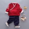ชุดเซตตรุษจีนสีแดงเข้มลายมังกรที่แขนเสื้อ [size 1y-3y-4y]
