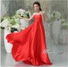 พร้อมเช่า ชุดราตรียาว สีแดง ผ้าซาตินมันเงา สวยหรู ประดับคริสตัลช่วงบนอกจับจีบ ชายกระโปรงยาว