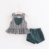 ชุดเซตเสื้อลายสก็อตสีดำ+กางเกงสีเขียวเข้ม [size 6m-1y-18m-2y-3y]
