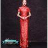 กี่เพ้า สีแดง ผ้าไหมจีน ทอลายดอกไม้ สีเงิน กุ๊นขอบ ตัดเย็บอย่างดี