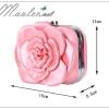 พร้อมส่ง Evening Clutch กระเป๋าออกงาน สีชมพู สวยหวาน รูปดอกกุหลาบ 3 มิติ (พร้อมสายโซ่สั้นและยาว)