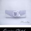 พร้อมส่ง Evening Clutch กระเป๋าออกงาน สีเทาเงิน ผ้าซาติน ฝาอัดพลีต แต่งดอกกุหลาบ