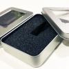 กล่องใส่หูฟังโลหะแบบสี่เหลี่ยมมีช่องพลาสติกใส บุฟองน้ำอย่างดีข้างใน Earphone Box Metal Square