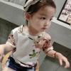เสื้อแขนสั้นสีครีมลายดอกไม้ แพ็ค 5 ชิ้น [size 2y-3y-4y-5y-6y]