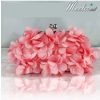 พร้อมส่ง Evening Clutch กระเป๋าออกงาน ทรงดอกไม้สามมิติ สีชมพูโอโรส ประดับคริสตัลคู่ปากกระเป๋า มาพร้อมสายสะพายสั้น/ยาว