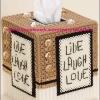 แพทเทิร์นกล่องทิชชูลาย Live Laugh Love