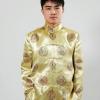 ชุดจีน ชาย เสื้อคอจีน ผ้าไหมจีน ทอลาย สีทอง