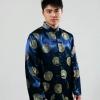 ชุดจีน ชาย เสื้อคอจีน ผ้าไหมจีน ทอลาย สีน้ำเงิน