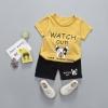 ชุดเซตเสื้อลายขวางสีเหลืองลายน้องหมา+กางเกงสีดำ แพ็ค 4 ชุด [size 6m-1y-2y-3y]