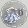 ชุดเซต 3 ชิ้นลายดอกไม้สีฟ้า แพ็ค 4 ชุด [size 6m-1y-18m-2y]