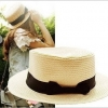 [พร้อมส่ง] H7091 หมวกสาน ปีกสั้น แต่งด้วยริบบิ้นโบผ้า สีดำ งานน่ารัก สไตล์สาวญี่ปุ่น