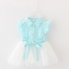 ชุดเดรสสีฟ้าลายดอกไม้กระโปรงสีขาว แพ็ค 2 ชุด [size 1y-2y]