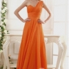 พร้อมเช่า ชุดราตรียาว เกาะอก ไหล่เดียว ผ้าชีฟอง สีส้ม Tangerine จับเดรปสวยช่วงอก