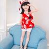 ชุดเซตเสื้อลายดอกไม้สีแดง+กางเกงลูกไม้สีขาว+เข็มกลัดดอกไม้+หมวกพร้อมผ้าคาดสีแดง แพ็ค 5 ชุด [size 2y-3y-4y-5y-6y]