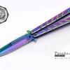 มีดบาลีซอง Balisong มีดควง มีดปีกผีเสื้อ สีรุ้งอะโนไดซ์ ขนาด 9 นิ้ว BLA008
