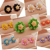 [พร้อมส่ง] E7342 ต่างหูหนีบดอกไม้ ตกแต่งเกสรสีทองตรงกลาง Colorful Flower Earring