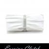 พร้อมส่ง Evening Clutch กระเป๋าออกงาน สีขาว จับจีบ ทรงยาวจับพอดีมือ แต่งแผงคริสตัลหรู (พร้อมสายโซ่สั้นและยาว)