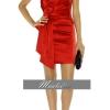 พร้อมเช่า ชุดราตรีสั้น แขนกุด Designer dress ผ้าซาติน สีแดง คอวี จับเดรปด้านหน้า