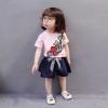 ชุดเซตเสื้อสีชมพูลายดอกกุหลาบ+กางเกงสีกรมท่า แพ็ค 4 ชุด [size 6m-1y-2y-3y]