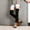 [พร้อมส่ง] S7577 ถุงเท้ายาวครึ่งขา เหนือเข่า สีพื้นล้วน ความยาว 45cm