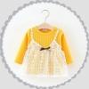 ชุดเดรสแขนยาวสีเหลืองแต่งสายเดี่ยวลายลูกไม้สีขาว แพ็ค 3 ชุด [size 6m-2y-3y]
