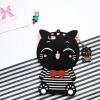 เคสซิลิโคน 3Dแมวดำใส่เสื้อขวาง ไอโฟน 7 4.7 นิ้ว