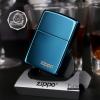"""ไฟแช็ค Zippo แท้ 20446ZL แซฟไฟร์ สีฟ้าน้ำทะเลผิวมัน """" Zippo Logo Sapphire Blue Finish"""" แท้นำเข้า 100%"""