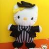 Hello Kitty circus ตุ๊กตาคิตตี้ ชุดคลุมหูกระต่ายดำ 10 นิ้ว