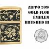 """ไฟแช็ค Zippo แท้ บุปผาทองคำ """"Zippo 20903, Gold Floral Emblem Brushed Brass"""" แท้นำเข้า 100%"""