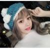 [พร้อมส่ง] H7597 หมวกไหมพรมกันหนาว ทรงเบเร่ต์ ตกแต่งด้วยโบและปอมๆสุดน่ารัก