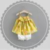 ชุดเซตเสื้อสายเดี่ยวสีเหลืองลายดอกไม้+กางเกงสีขาว แพ็ค 4 ชุด [size 6m-1y-18m-2y]