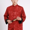 Pre-order ชุดจีน ชาย เสื้อคอจีน ผ้าแพร สีแดง / ดำ ใส่ได้สองด้าน