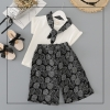 ชุดเซตเสื้อสีขาว+ผ้าพันคอสีดำ+กางเกงสีดำ แพ็ค 5 ชุด [size 2y-3y-4y-5y-6y]