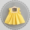 ชุดเดรสลายจุดสีเหลืองแต่งดอกไม้ที่คอ [size 6m-1y-18m-2y]