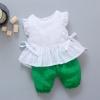 ชุดเซตเสื้อสีขาว+กางเกงสีเขียว แพ็ค 4 ชุด [size 6m-1y-2y-3y]