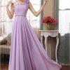 พร้อมเช่า ชุดราตรียาว ไหล่เดียว ผ้าชีฟองคาดเพชรที่เอว แต่งดอกสวย สีม่วง Lavender