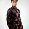 ชุดจีน ชาย เสื้อคอจีน ผ้าไหมจีน ทอลาย สีดำ