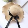 [พร้อมส่ง] H4069 หมวกสาน / หมวกไปทะเล ปีกกว้าง ขอบหยัก ตกแต่งด้วยริบบิ้นสีดำ