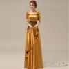พร้อมเช่า ชุดราตรียาว สีทอง ปิดไหล่ แต่งดอกกุหลาบจับจีบสวย ผ้าซาติน