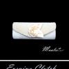 Sale พร้อมส่ง Evening Clutch กระเป๋าออกงาน สีครีม งาช้าง ผ้าซาติน ฝาอัดพลีต แต่งดอกกุหลาบ