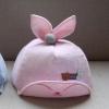 หมวกเด็กลายดาวสีชมพูอ่อนแต่งหูกระต่าย