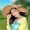 [พร้อมส่ง] H4064 หมวกสาน / หมวกไปทะเล ปีกกว้าง ตกแต่งด้วยริบบิ้นผ้า Big Ribbon Hat