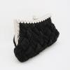 Evening Clutch กระเป๋าออกงาน สีดำ อัดพลีทลายสาน ประดับคริสตัลปากกระเป๋า พร้อมสายโซ่สั้น/ยาว
