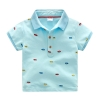 เสื้อยืดคอปกสีฟ้าลายรถ [size 2y-3y-4y-5y-6y]