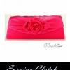 พร้อมส่ง Evening Clutch กระเป๋าออกงาน สีชมพูเข้ม ประดับดอกไม้ผ้าซาติน มาพร้อมสายโซ่ยาว